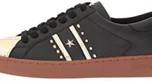 Zapatos Sneakers MICHAEL KORS Frankie Stripe Leather Black Pale Gold New